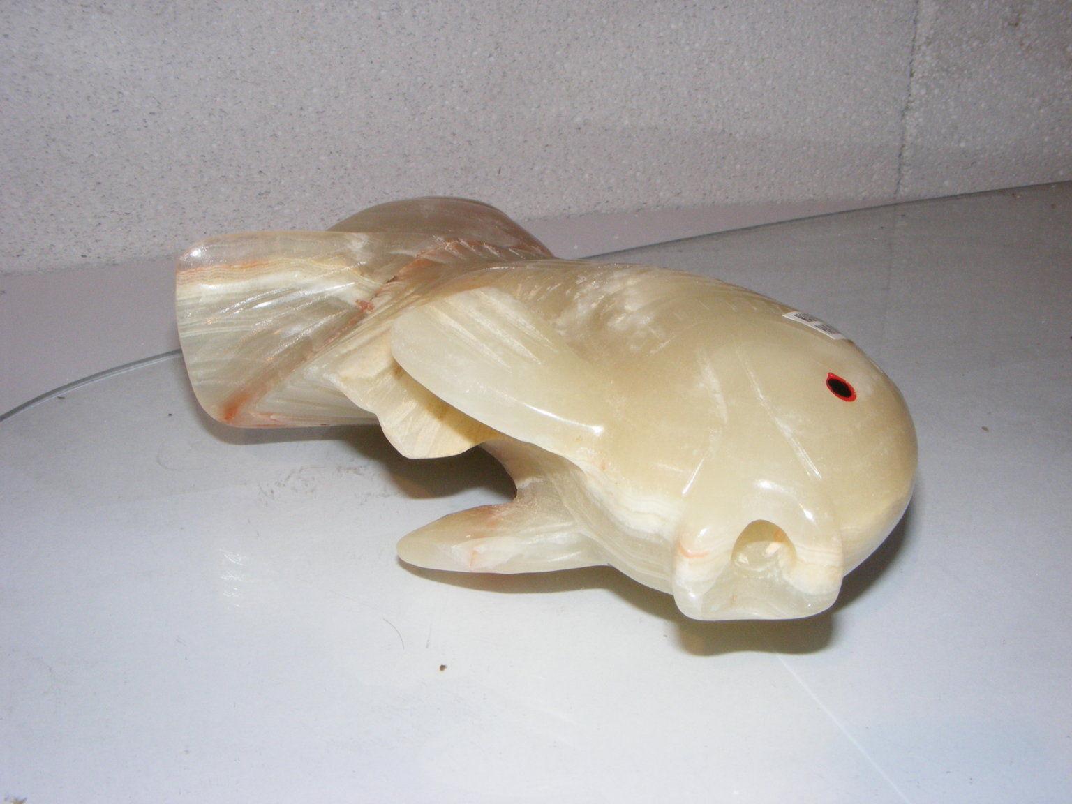 Onyx glas steinfigur wasserspeier fisch garten deko teich for Glasdeko garten